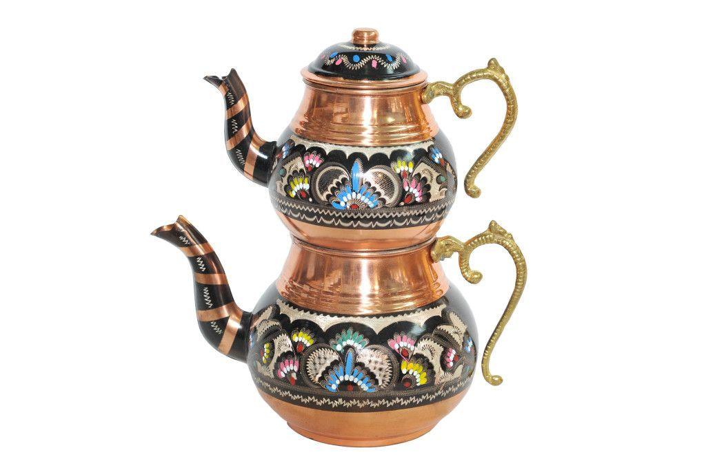 Чайник медный двойной Турция купить в интернет-магазине Shampurs.ru с бесплатной доставкой